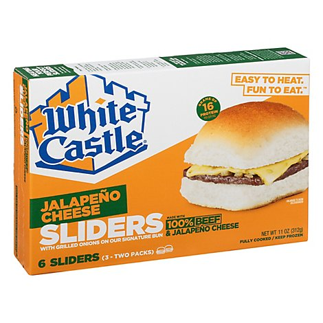 White Castle Microwaveable Cheeseburgers Jalapeno - 6 Count