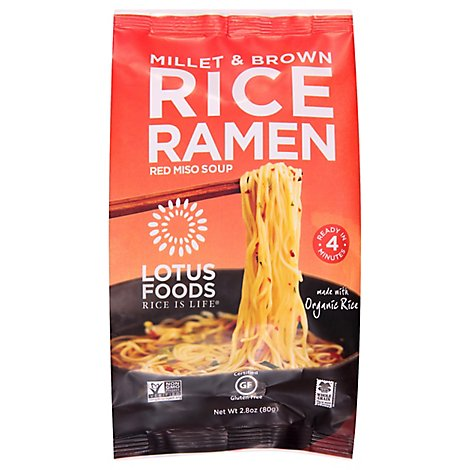 Lotus Foods Rice Ramen with Miso Soup Millet & Brown - 2.8 Oz