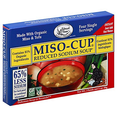 Edward & Sons Miso-Cup Soup Reduced Sodium - 1 Oz