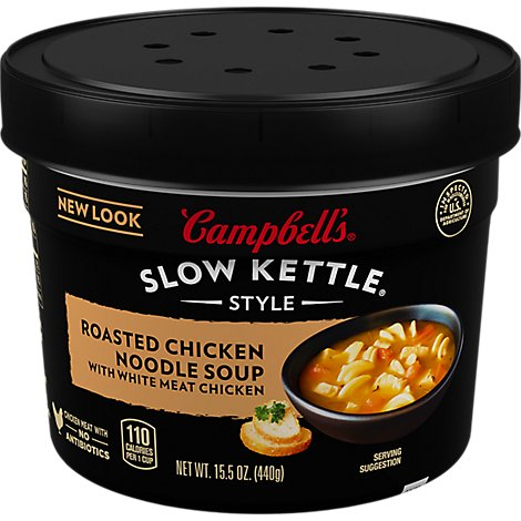 Campbells Slow Kettle Style Soup Roasted Chicken Noodle - 15.5 Oz