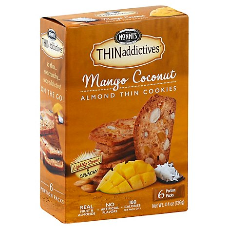 Nonnis THINaddictives Almond Thins Mango Coconut - 6 Count