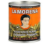 La Morena Pickled Jalapeno Peppers Sliced Green Can - 28.2 Oz