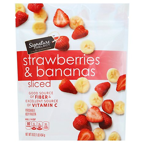 Signature SELECT Strawberries & Bananas Sliced - 16 Oz