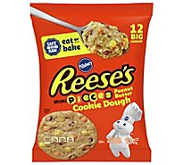 Pillsbury Ready To Bake! Cookies Big Deluxe Peanut Butter With Reeses Mini Pieces 12 Count - 16 Oz