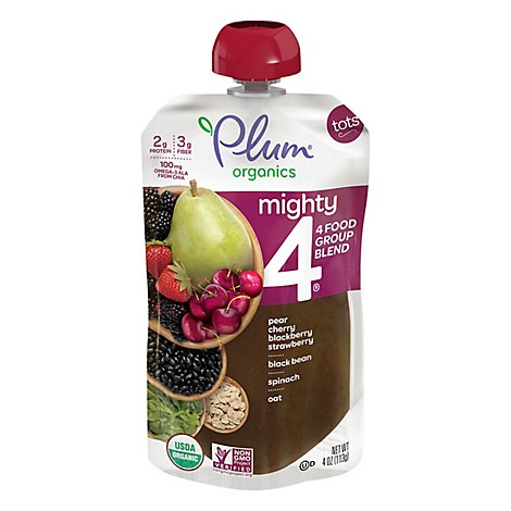 Plum Organics Organic Tots Mighty 4 Puree Banana Kiwi Spinach Kale Greek Yogurt Barley Oat - 4 Oz