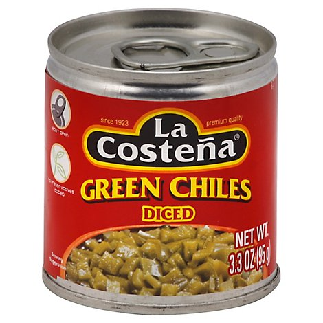 La Costena Chiles Green Diced Can - 3.3 Oz