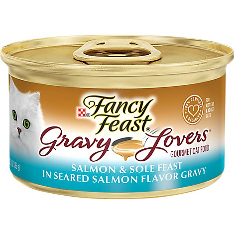 Fancy Feast Cat Food Wet Gravy Lovers Salmon & Sole In Seared Salmon Gravy - 3 Oz