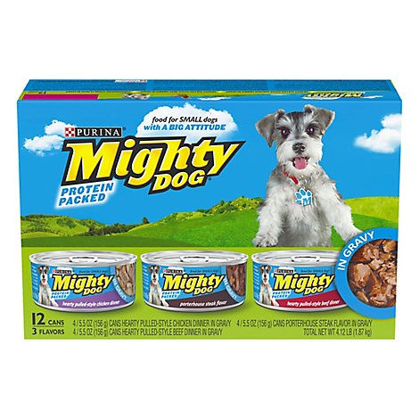 Mighty Dog Dog Food For Small Dogs Protein Packed Chicken Steak Beef Flavors In Gravy - 12-5.5 Oz