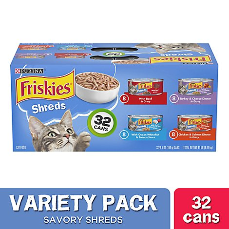 Friskies Cat Food Savory Shreds Variety Pack Can - 32-5.5 Oz