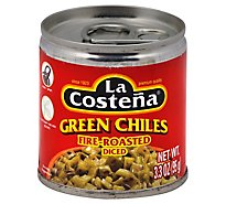 La Costena Chiles Green Diced Fire-Roasted Can - 3.3 Oz