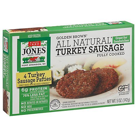 Jones Dairy Farm Sausage All Natural Golden Brown Turkey Patties 4 Count - 5 Oz