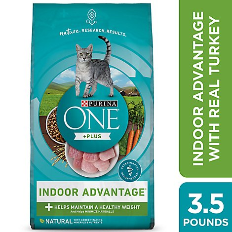 Purina ONE Cat Food Premium Adult Indoor Advantage with Real Turkey - 56 Oz