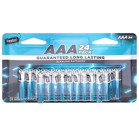 Signature SELECT Batteries Alkaline AAA Guaranteed Long Lasting - 24 Count