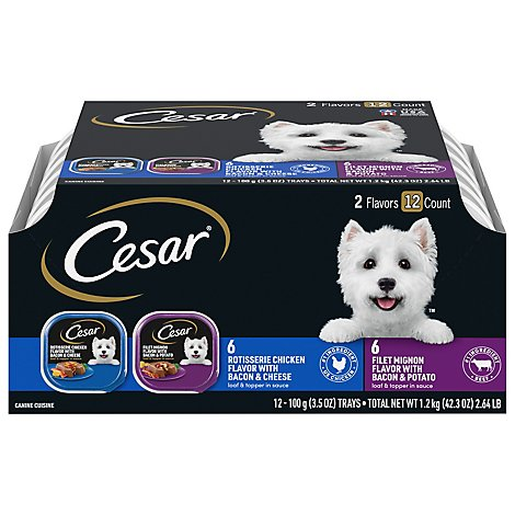Cesar Savory Delights Canine Cuisine In Meaty Juices 2 Flavors Tub - 12-3.5 Oz