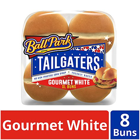 Ball Park Tailgaters Buns Gourmet Sandwich White XL 8 Count - 21 Oz