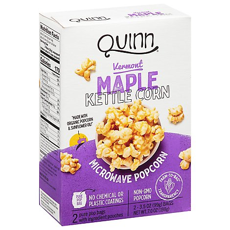 Quinn Popcorn Microwave Vermont Maple & Sea Salt - 2-3.5 Oz