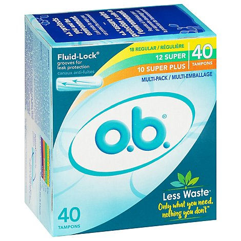 o.b. Original Tampons Digital Applicator Free Multi Pack - 40 Count