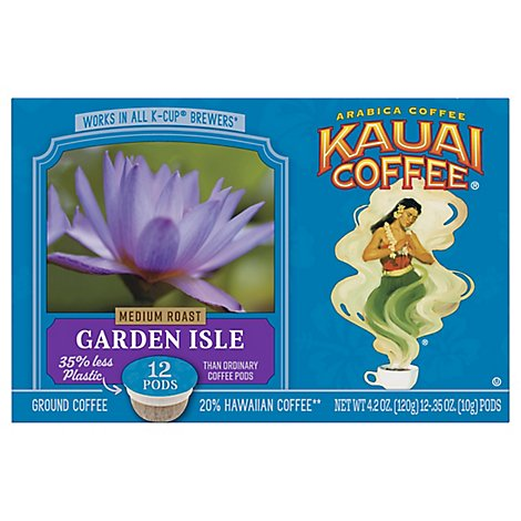 Kauai Coffee Coffee Arabica K-Cups Medium Roast Garden Isle - 12-0.35 Oz
