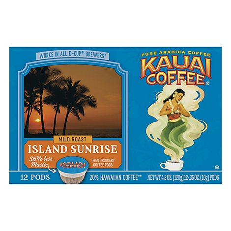 Kauai Coffee Coffee Arabica K-Cups Mild Roast Island Sunrise - 12-0.33 Oz