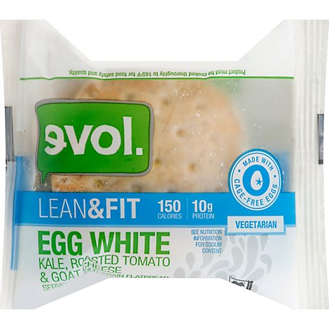 Evol Breakfast Sandwich Lean & Fit Egg White Kale Roasted Tomato & Goat Cheese - 3.6 Oz