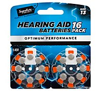 Signature SELECT/Home Batteries Hearing Aid Optimum Performance Size 13 1.45V - 16 Count