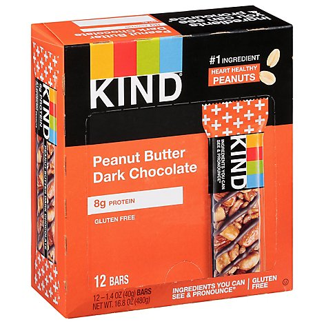 KIND Bar Plus Protein + Peanut Butter Dark Chocolate - 12-1.4 Oz