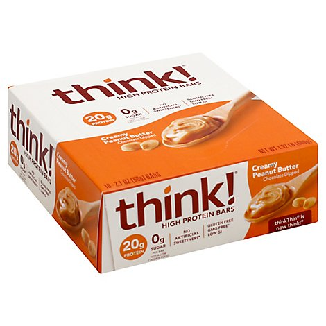thinkThin High Protein Bars Creamy Peanut Butter Chocolate Dipped - 10 Count