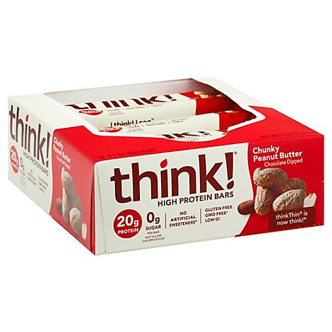 thinkThin High Protein Bars Chunky Peanut Butter Chocolate Dipped - 10 Count