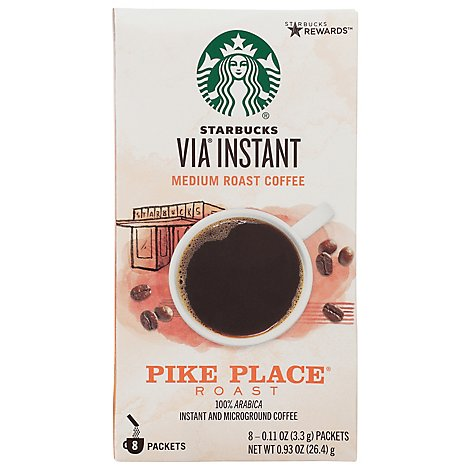 Starbucks VIA Instant Coffee Medium Roast Pike Place Roast Packets - 8-0.11 Oz