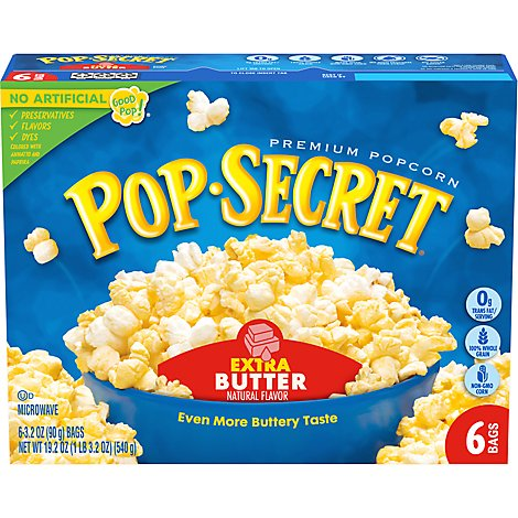 Pop Secret Microwave Popcorn Premium Extra Butter Pop-and-Serve Bags - 6-3.2 Oz