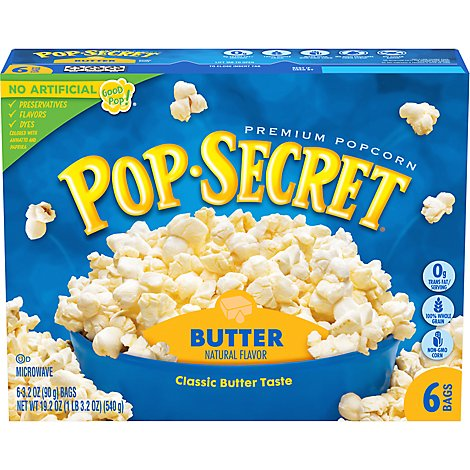 Pop Secret Microwave Popcorn Premium Butter Box - 6-3.2 Oz