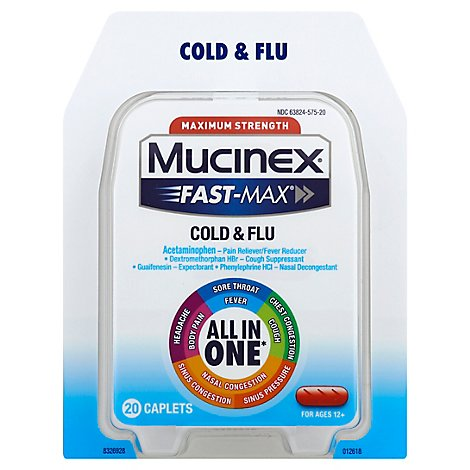 Mucinex Fast-Max Cold & Flu Medine All In One Maximum Strength Caplets - 20 Count
