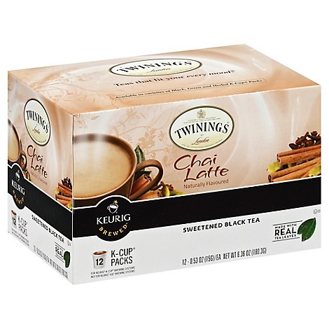 Twinings of London Black Tea K-Cup Pods Sweetened Chai Latte - 12-0.53 Oz