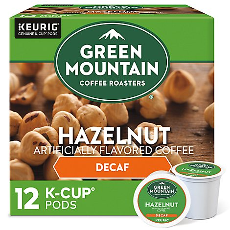 Green Mountain Coffee Keurig Hot Coffee Hazelnut Decaf K-Cup Pods - 12-0.33 Oz