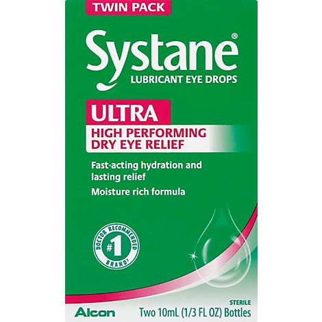 Systane Ultra Lubricant Eye Drops Twin Pack - 2-10 Ml