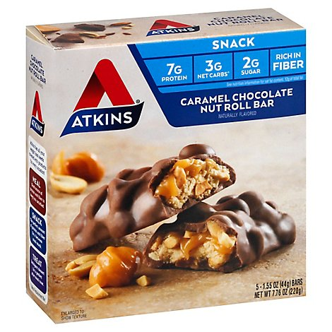 Atkins Snack Bar Caramel Chocolate Nut Roll - 5-1.6 Oz