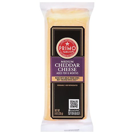 Primo Taglio Cheese Cheddar Medium - 8 Oz