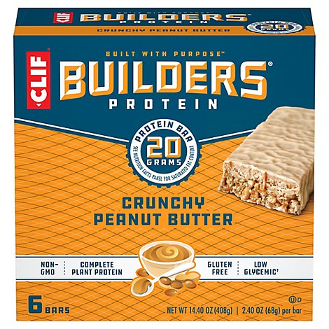 CLIF Builders Protein Bar Crunchy Peanut Butter - 6-2.4 Oz