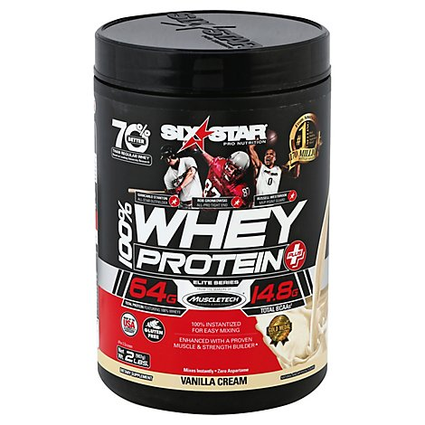 Six Star Elite Series 100% Whey Protein Plus Vanilla Cream - 2 Lb