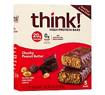 thinkThin High Protein Bars Chunky Peanut Butter Chocolate - 5 Count