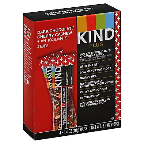 KIND Bar Plus Antioxidants Dark Chocolate Cherry Cashew - 4-1.4 Oz