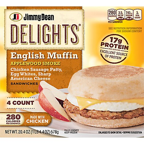 Jimmy Dean Delights Applewood Chicken Sausage Egg White Cheese English Muffin 4 Count