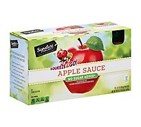 Signature SELECT Apple Sauce Squeeze & Go No Sugar Added Pouches - 12-3.17 Oz