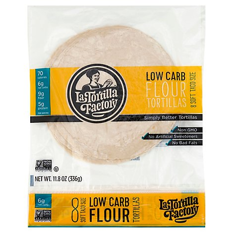 La Tortilla Factory Tortillas Flour Low Carb Bag 8 Count - 11.8 Oz