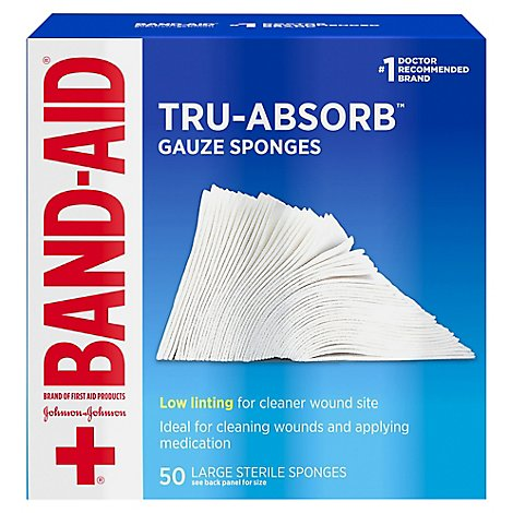 BAND-AID Mirasorb Gauze Sponges Large - 50 Count