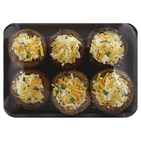 Fresh Cut Crimini Mushrooms Stuffed Cheddar Jalapeno - 6 Oz