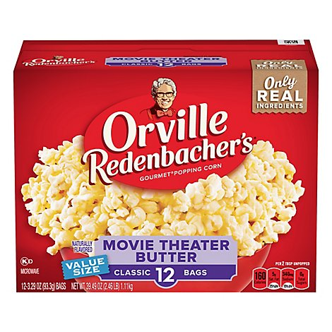 Orville Redenbachers Popping Corn Gourmet Movie Theater Butter - 12-3.29 Oz