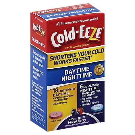 Cold-Eeze Cold Remedy Daytime Nightime Mixed Berry Flavor Quick Melts - 24 Count