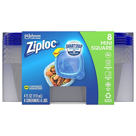 Ziploc Container Mini Square Smart Snap - 8 Count