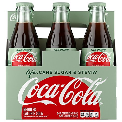 Coca-Cola Soda Life Cane & Sugar Stevia Glass Bottle - 6-8 Fl. Oz.